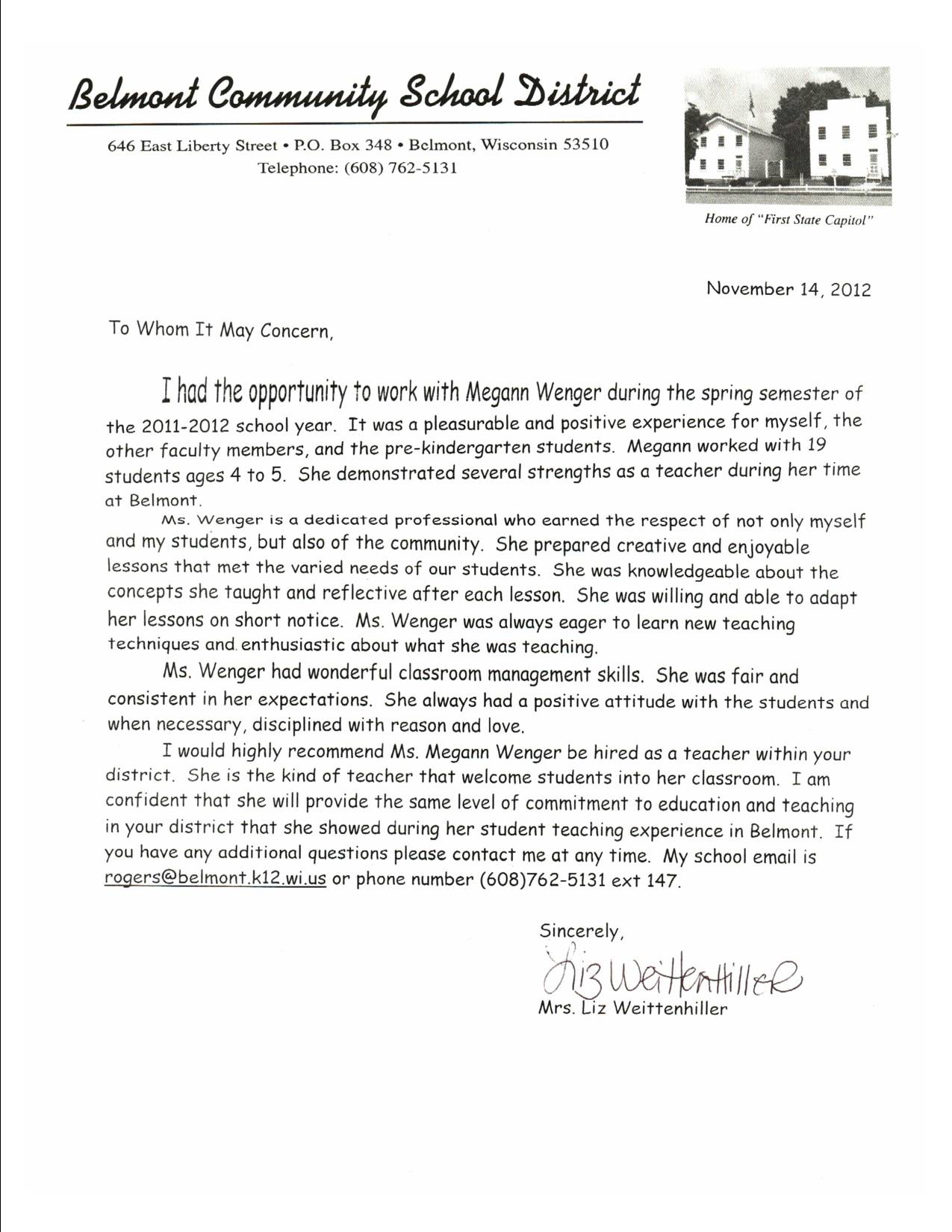 Letters Of Recommendation Elizabeth Weittenhiller: 4K Teacher  Belmont  Elementary School  Resume For Recommendation Letter